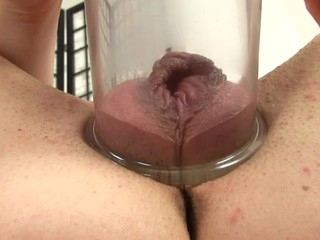 Placing a pump on her cunt creates wild pleasures for at a high