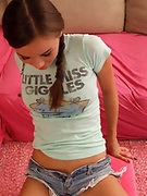 Gorgeous brunette teenaged Alexis Capri railed doggy style