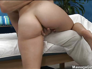 Hot and sexy 18 year ancient babe gets fucked hard from behind from her massage therapist
