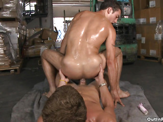 Teen and fresh-looking guy gets fucked at the warehouse in his dominate tight asshole.