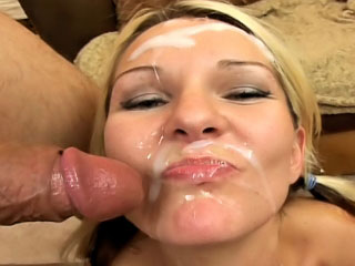Sweet light-complexioned enjoys sperm shower on burnish apply brush light jibe sucking