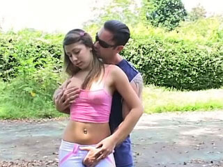 Venerable dirty mendicant shagging hot on the up firsthand teen outdoors