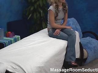 Inviting stud massages wonderful firsthand sensitive body of stunning golden-haired hotty becoming aroused so much from this process. His dick becomes inflexible and the cutie feels it. Watch 'em fucking abundantly after that.
