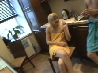 Horny honey sucks diminutive dong of her partner medial the urinal