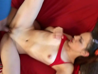 Pigtailed pubescent sucking coupled with acquiring gaped up her close-fisted pussy