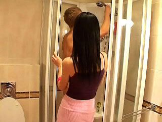 Playful teen sucking big cock and acquire bonk wide the bathroom