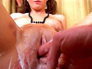 Sexy gloominess mollycoddle gets on her knees to suck hard big dick