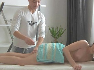 Uncultivated oil massage always makes beauty give messy oral sex