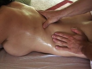 Giving playgirl lusty rub down makes stud's penis hard like hell