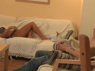 In force Age Teenager gal kisses lips of her boyfriend and sucks his dick.