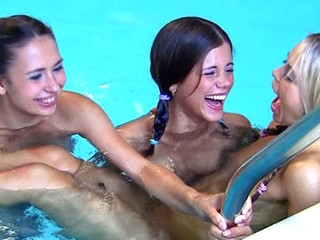 Moisture hawt legal age teenager lesbos giving a kiss & fingering almost the pool!