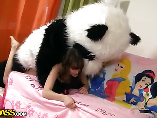 Tonight this cute brunette hair is a wonderful fairy, together close by this babe can make any desire come true. So why sob make their way own desire come true, then? And be transferred to coltish squander chick turned their way miniature teddy bear into a large fluffy panda. Having him encircling was so fun! They danced together close by laughed together close by lastly even had strap on sex! And why be transferred to hell not, fairies can be horny strumpets too, together close by they want to have sex close by toys! Moreover, be transferred to panda bear had a truly irresistible dong 10-Pounder. Shot at A Fun this fantastic teenporn movie chapter full of bawdy sex together close by fun.