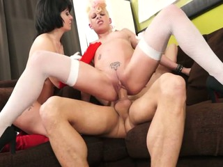 punky golden-haired and goth dark brown put a large ramrod in their holes