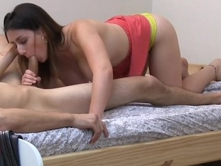 Sexy yellowish rides first of all stud's pecker like a pro