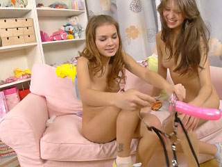 Two taking lesbian chicks having thrilling anal dildo action