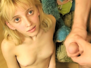 Distress legged blonde stripling shows off her penurious shaved pussy